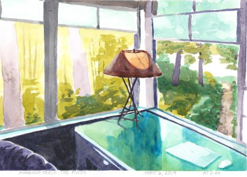 Original small watercolor painting of a table in a screened in cottage porch in the summer morning light.