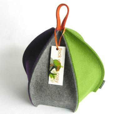 Modern colourful wool felt 6 sided tea cosy