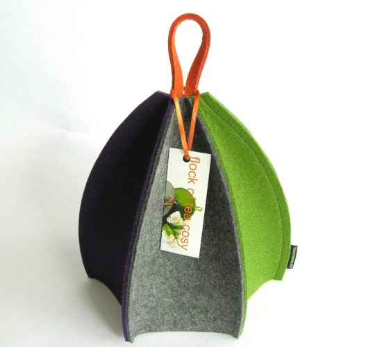 Minimalist sleek design wool felt tea cosy for modern home by flockofteacosy