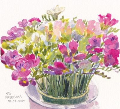 Small original watercolour painting for sale of freesia flowers