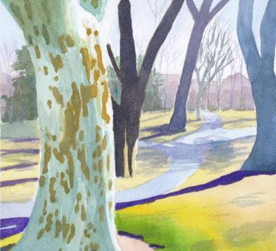 Original small watercolour painting modern lanscape London Plan tree High park Toronto