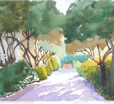 Small original watercolour painting on paper of Marxalenes Park in Valencia in the afternoon sunlight
