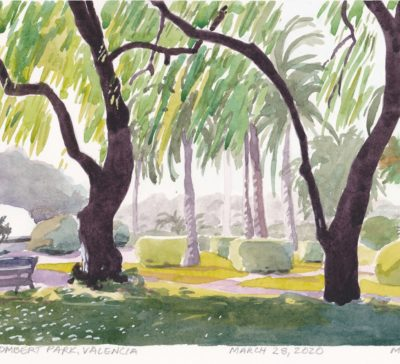 Original small watercolor painting Valencia Spain willow trees Llombert Park Valencia