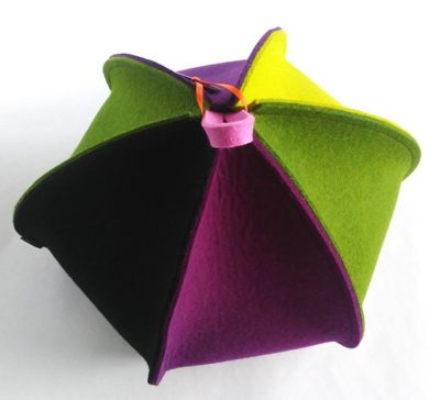 Modern expandable colourful six sided tea cosy in wool felt