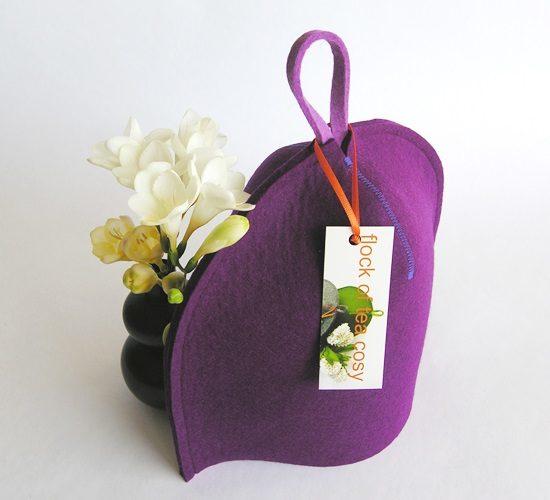 Purple magenta tea cosy in wool felt