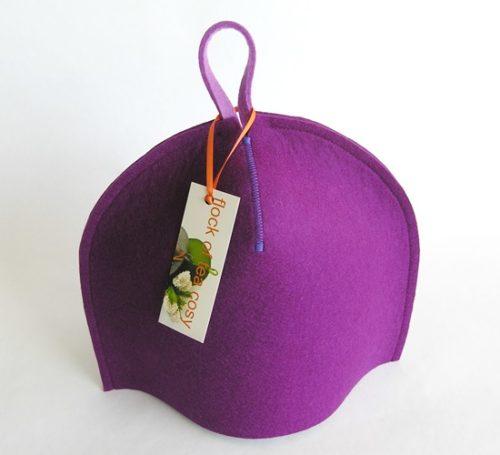 Small 2 cup modern tea cozy in magenta purple wool felt
