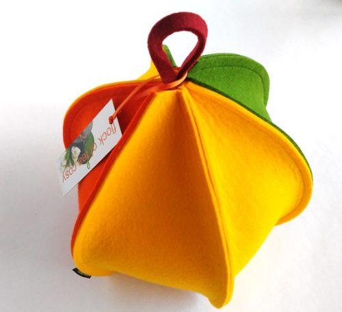 Modern multi paneled tea cozy in wool felt orange green yellow
