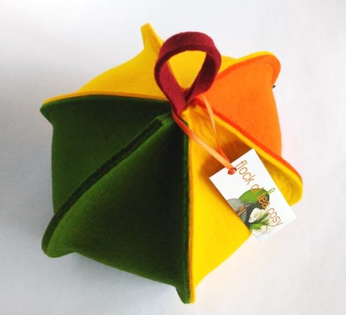 Small modern tea cosy with six panels in wool felt green yellow and orange