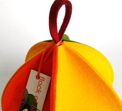 Modern architectural wool felt tea cosy in bright colours