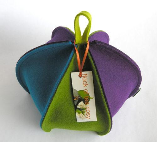 Colourful expandable wool felt modern tea cosy