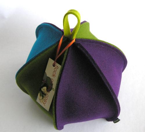 Modern Multi colored expanding tea cozy in wool felt
