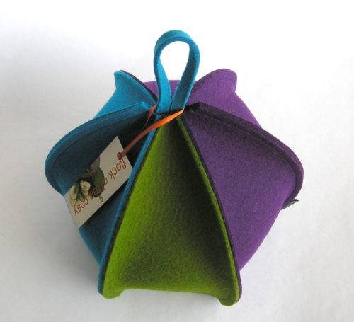 Modern tea cosy six sided expandable wool felt