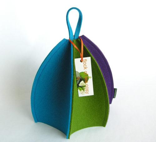 Modern expandable wool felt tea cozy