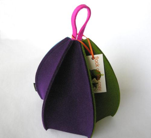 Modern tea cozy expandable in european wool felt colorful six sided