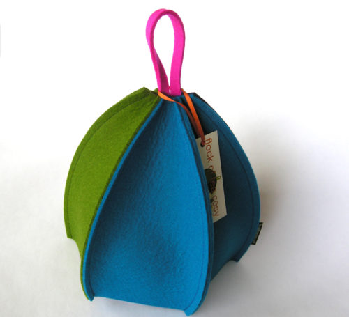 Modern tea cosy wool felt six sided expandable small 2 cup size