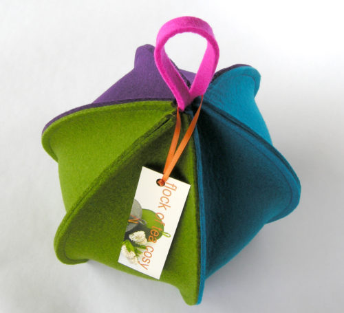 Modern expandable tea cosy in colourful wool felt six sided