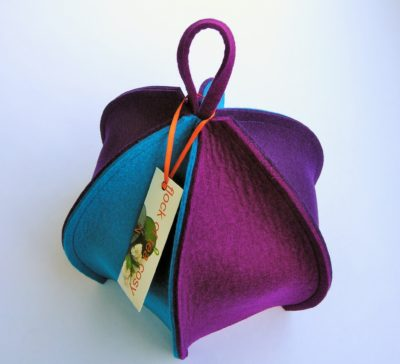 Expandable six sided tea cozy colourful thick wool felt