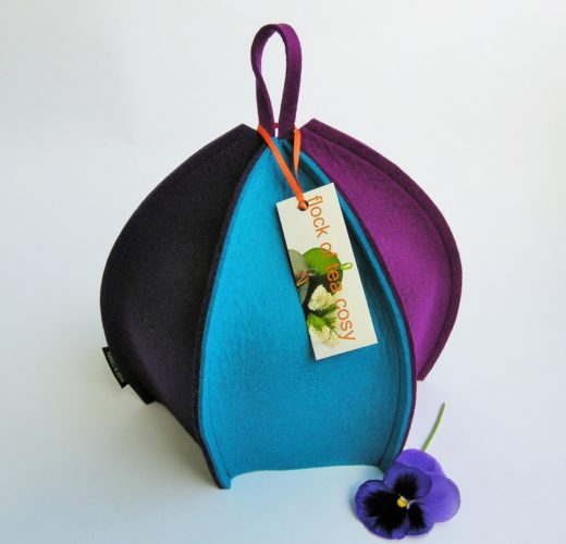 Colourful modern six sided tea cozy in thick wool felt by Flock of Tea Cosy