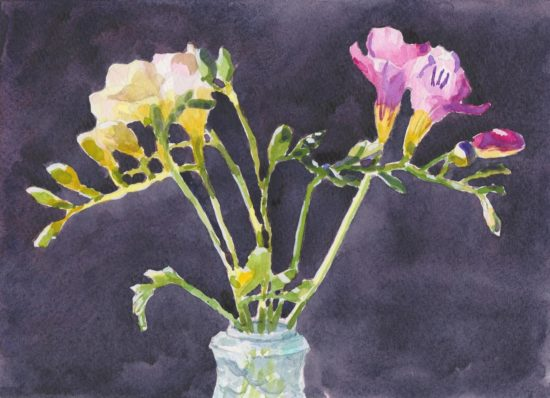 Freesia blooms yellow and pink in small crystal vase against dark background original watercolor painting by Canadian artist