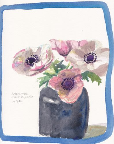 Original small watercolour painting of white and pale pink anenome flowers