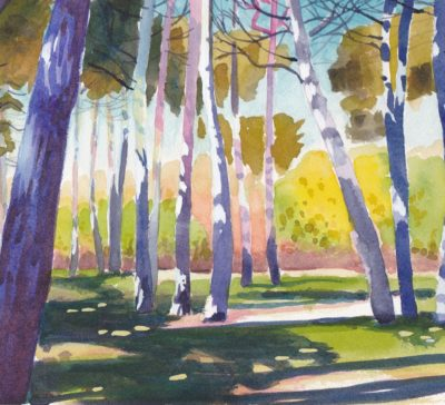 Watercolour painting of a shady grove of pine trees impressionist colourful in High Park Toronto