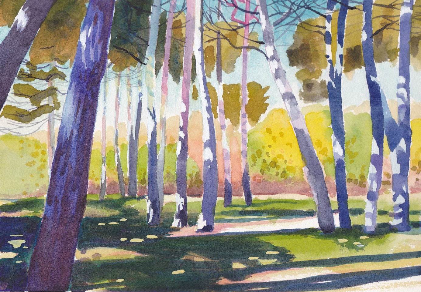 SOLD Impressionist watercolour painting of a shady grove of pine trees  in High Park Toronto