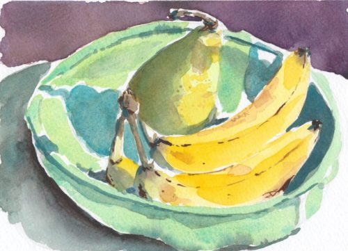 Original small watercolour painting of bowl of fruit with pear and bananas in celadon green bowl
