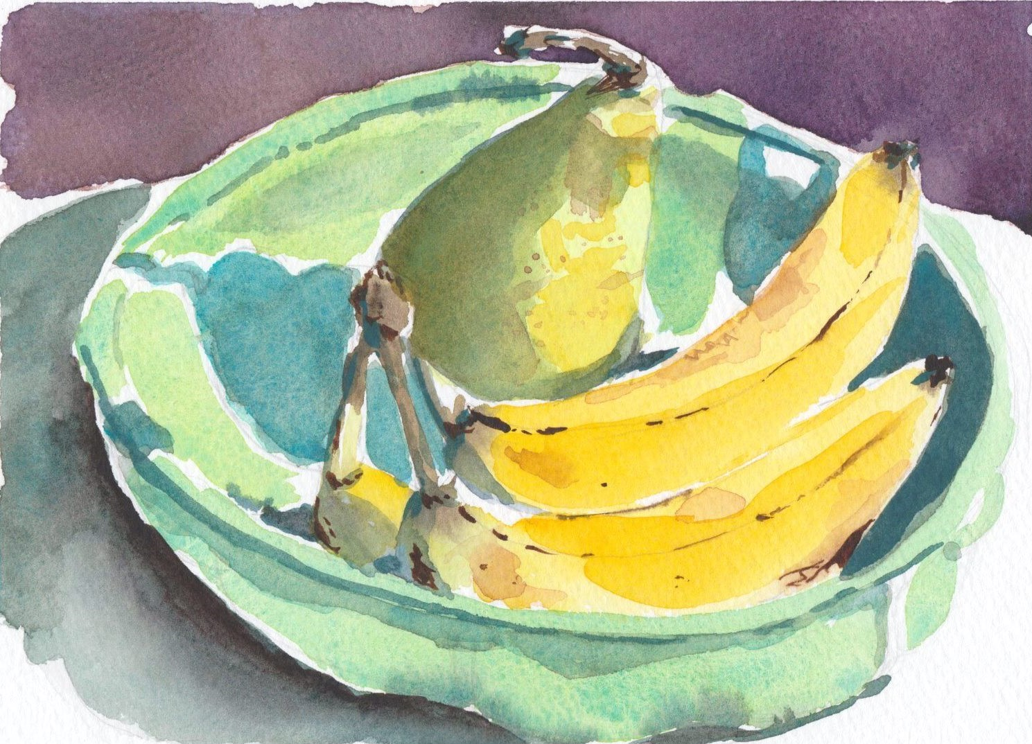 Watercolour painting of bananas and a pear in a celadon green china bowl in afternoon light.
