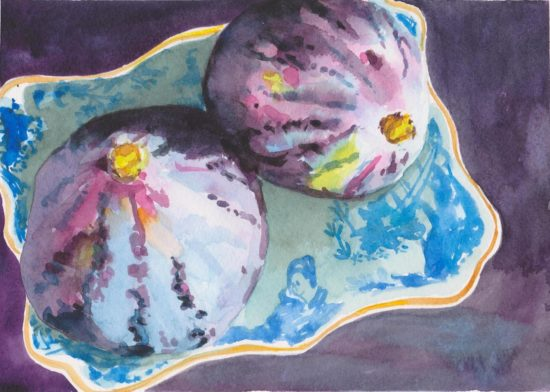 Watercolour painting of two fresh figs in a Blue Willow china dish