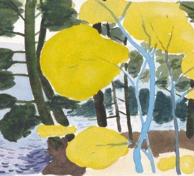 Original watercolor painting abstract landscape summer light on young leaves for sale