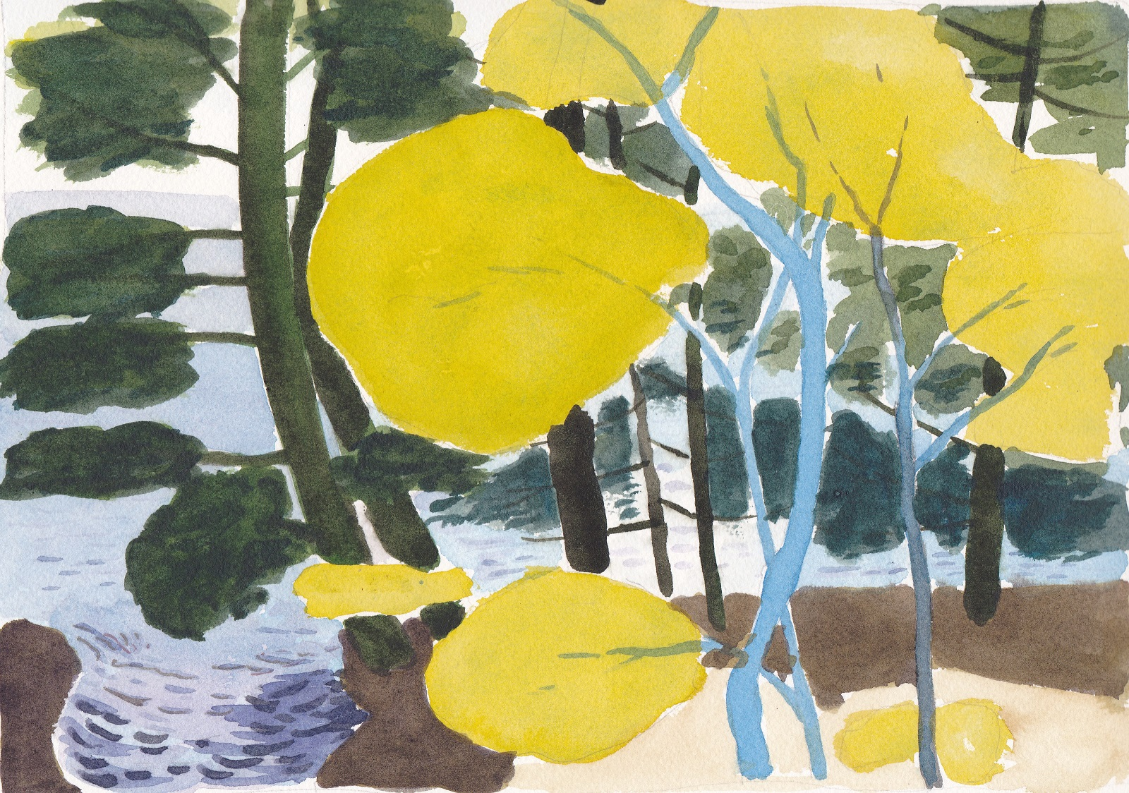 Original watercolor painting abstract landscape summer light on young maple leaves