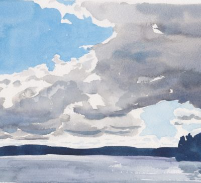 Small watercolour painting of a cloud front over Pine Lake