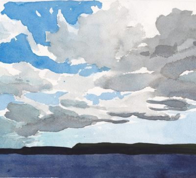 Skyscape painting of clouds over Georgian Bay, small, original