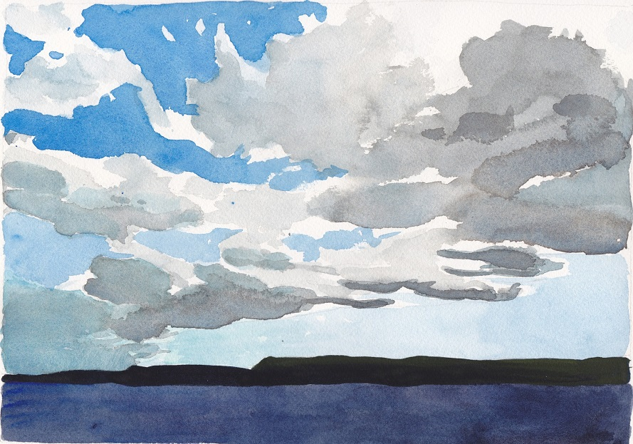 Cloud front over Georgian Bay watercolour painting