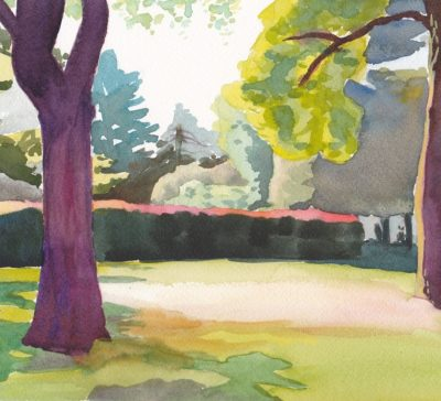 Original watercolor painting of red hedge in morning summer light in Toronto