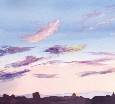 Small original watercolour painting of pink purple clouds over cityscape at sunset