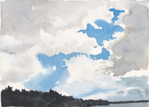 Watercolour of autumnal cloudy skies