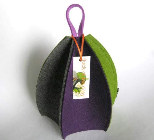 Expandable six sided wool felt tea cozy for small teapot in clean minimalist design and bright colours by flock of tea cosy