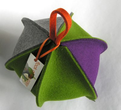 Colourful wool felt modern tea cosy in green and purple by flock of tea cosy