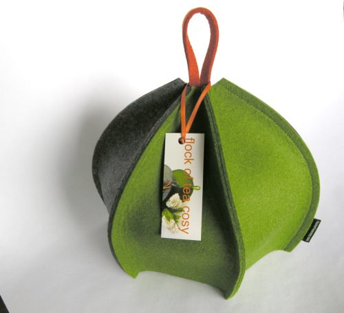 Ribbed style expandable wool felt tea cozy made in canada by flock of tea cosy