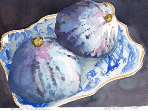 Small watercolour painting of two ripe purple figs in a small dish with blue willow pattern