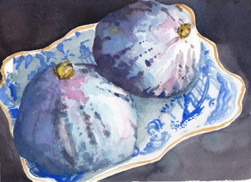 Small watercolour painting of two ripe figs in small blue Willow patterned dish