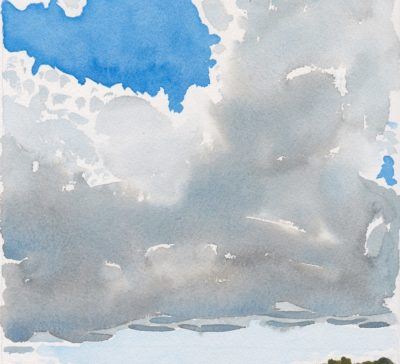 Small watercolour painting of clouds over Pine Lake, Muskoka