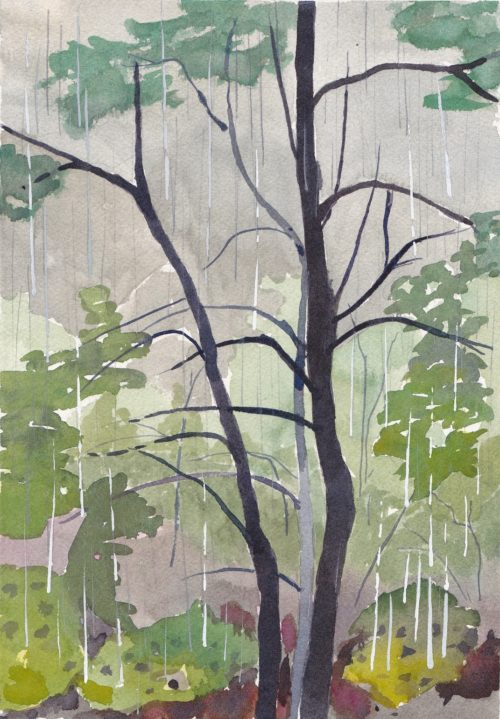 Original watercolour painting of rainy afternoon in the woods