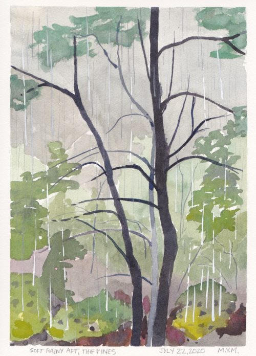 small watercolour painting of rainy forest