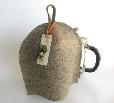 Modern clean design for this coffee warmer for french press in industrial wool felt