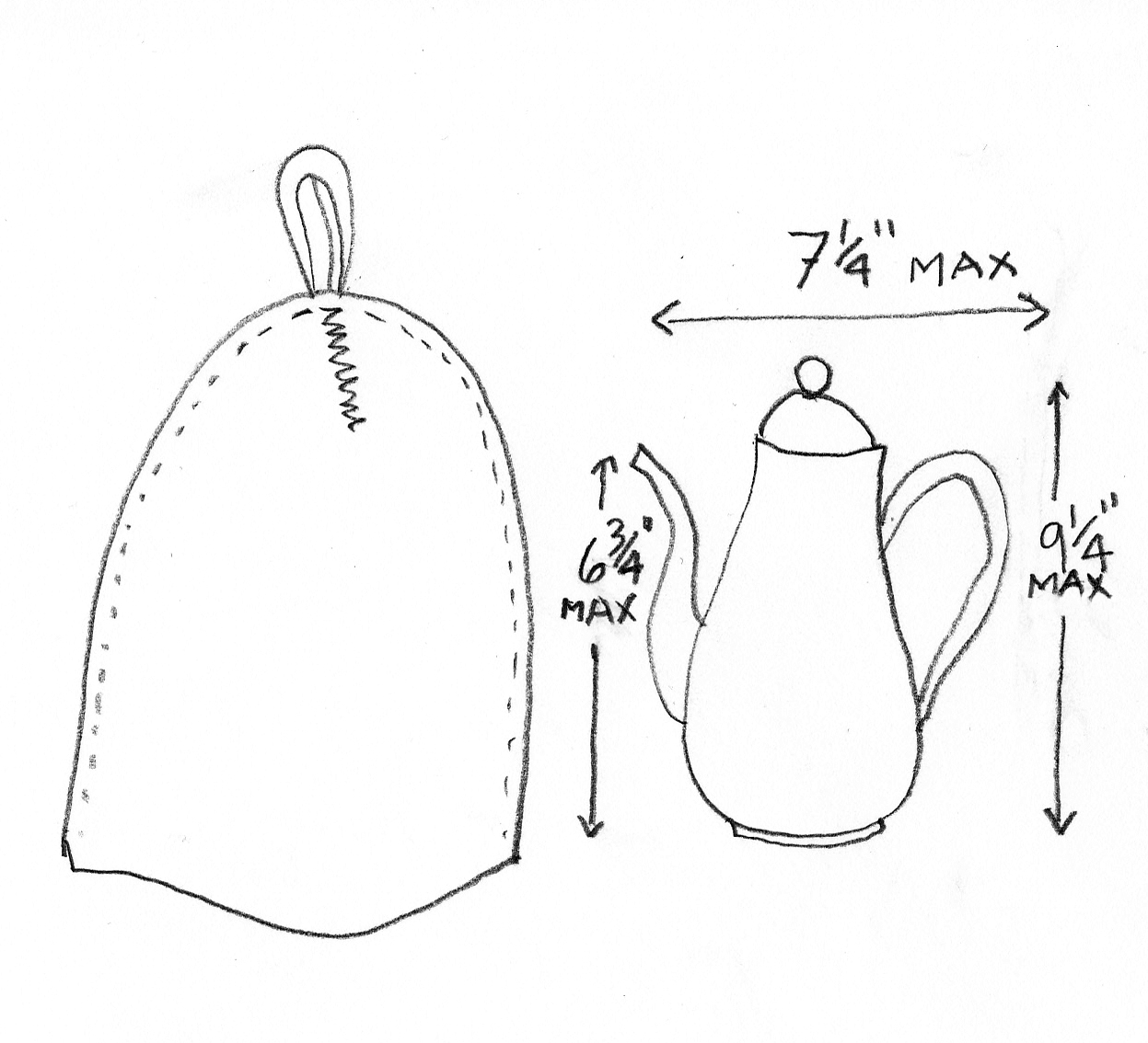 Fitting Sizing information for wool felt modern coffee cosy for Chambord by Bodum