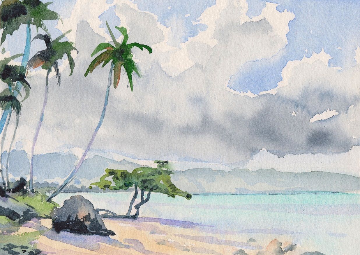 SOLD Small watercolour of beach scene with clouds