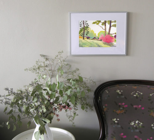 The burning Bush watercolour in situ framed on wall above armchair