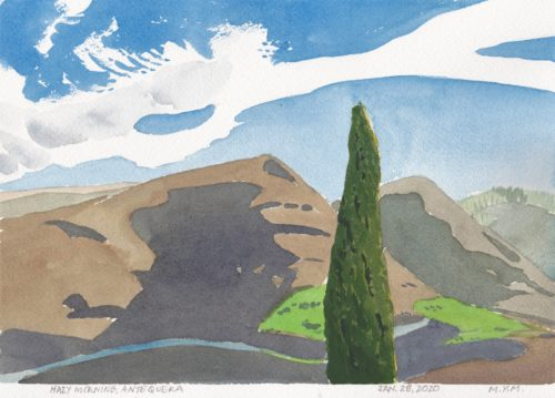 Original small watercolour with distinctive clouds